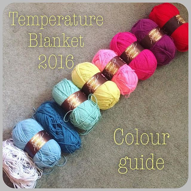 Couldn't resist. I'm starting a 2016 temperature blanket. I did one last year and loved it so much. Here's my colour guide for the new one: The Stylecraft colors and temperature guide is: 45*C+ - lipstick 40-44*C - plum 35-39*C - fuchsia purple 30-34*C - fondant 25-29*C - pistachio 20-24*C - sage 15-19*C - petrol 10-14*C - storm blue 5-9*C - silver
