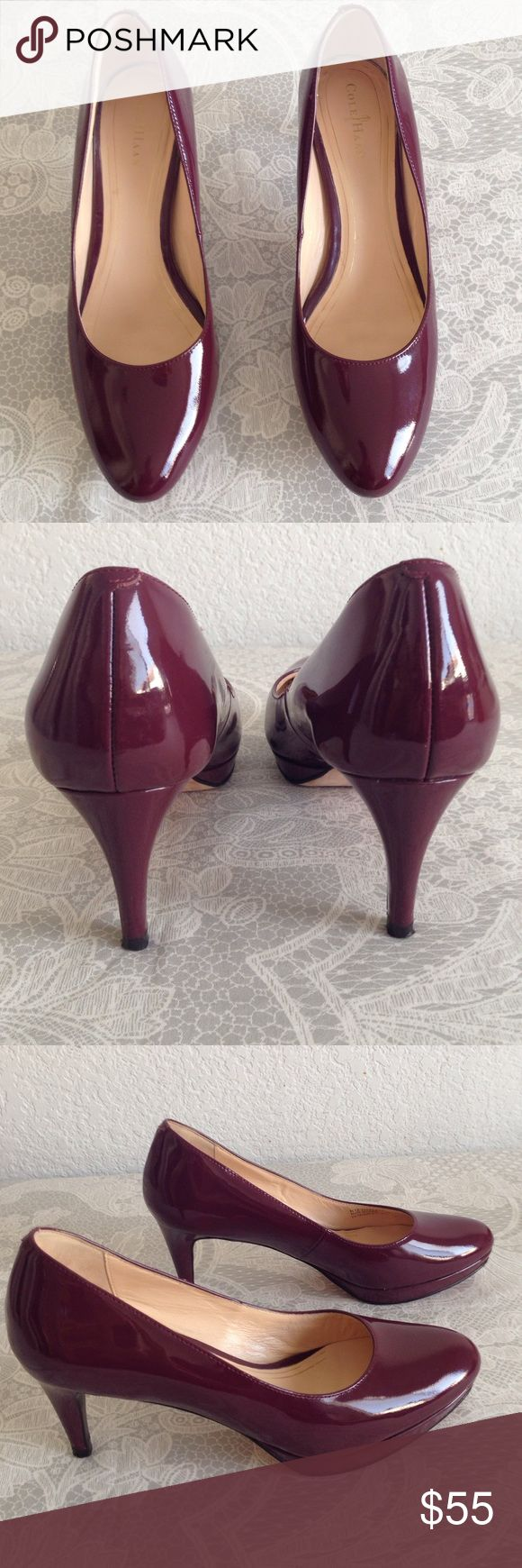 "Cole hann 2.75"" heels. 0.5"" platform. Patent leather. Burgundy.  Has tiny scuffs on 1 heel as show in last picture otherwise great condition.      I donot Trade!!! Cole Haan Shoes Heels"