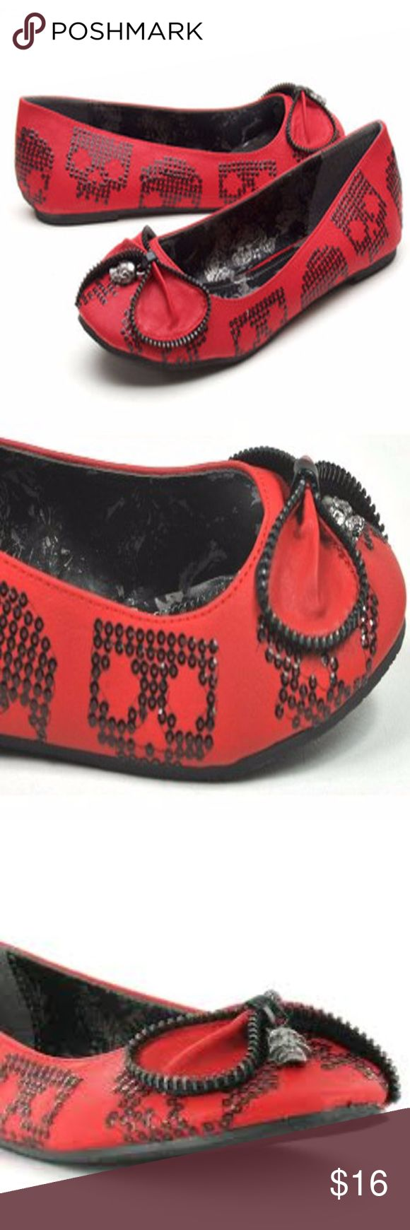 Iron Fist Ladies Ruff Rider Flat Closed toe flats with sparkling black skulls, zipper trim detail, and skull charm. Brand new, never worn! Iron Fist Shoes Flats & Loafers