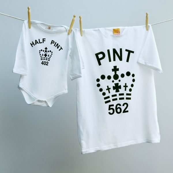 Matching pint & half pint baby grow set for dad and child