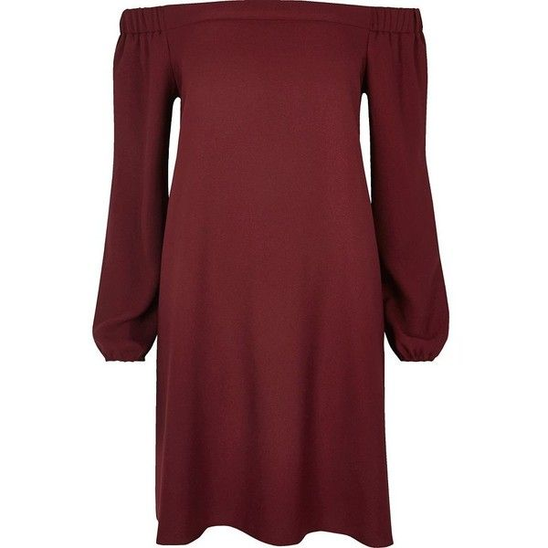 River Island Burgundy bardot swing dress ($30) ❤ liked on Polyvore featuring dresses, sale, women, trapeze dress, bell sleeve dress, red dress, long dresses and crepe dress