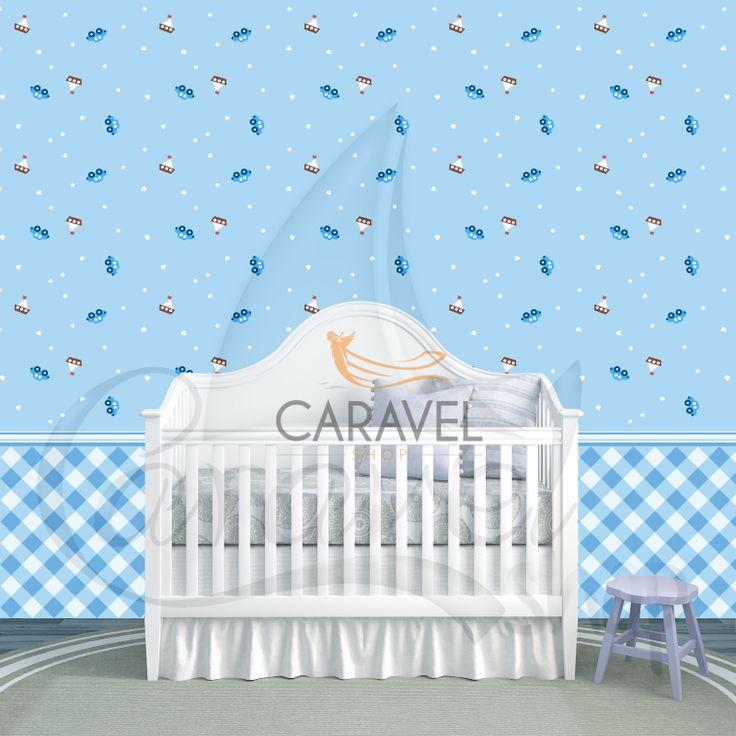 Παιδική Ταπετσαρία τοίχου με μπλε καραβάκια