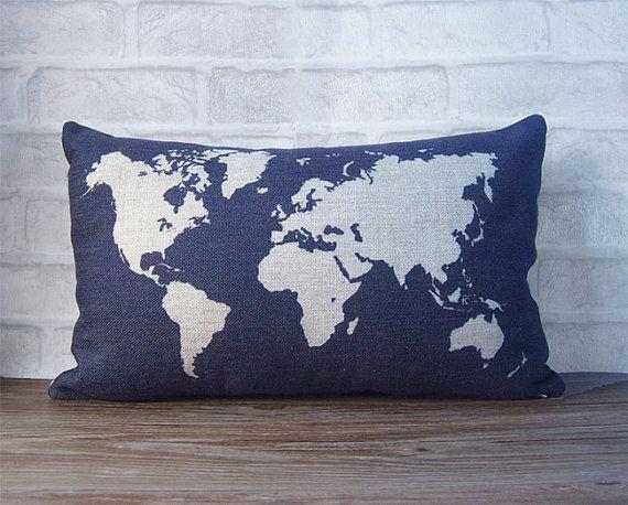 Azzurro federa lombare con federa del mondo mappa design - cassa del cuscino cotone lino decorativo throw pillow-mappa mondiale cuscino Blu-...