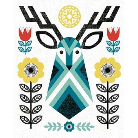 Folk Lodge Deer II V2 Teal Canvas Art – Michael Mullan (24 x 30)