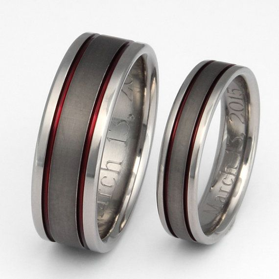 Titanium Wedding Band Set  Thin Red Line by TitaniumRingsStudio