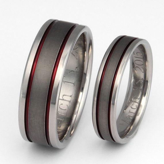 Titanium Wedding Band Set  Thin Red Line by TitaniumRingsStudio