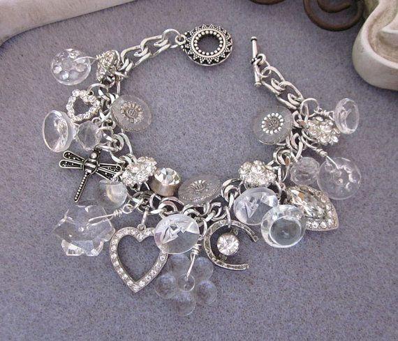 Vintage Charm Bracelet, Button Bracelet, Glass, Rhinestones, Bridal Silver Repurposed Jewelry, Heart, Horseshoe, OOAK Handmade Jewelry