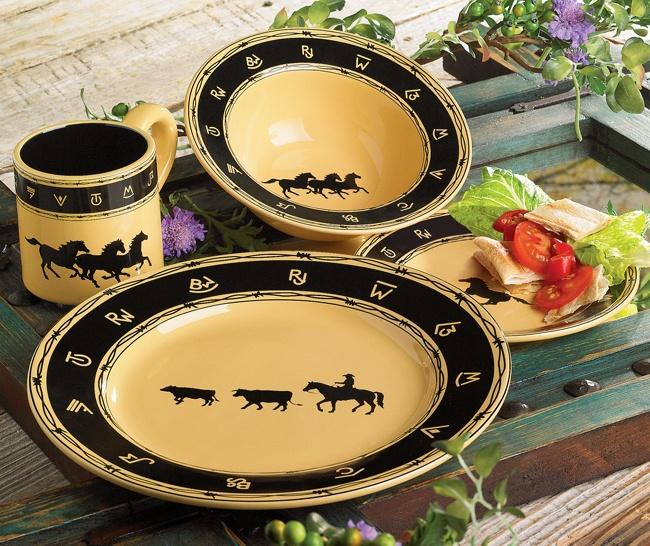 Western Kitchen Decor Sets: Western Brushwerks Dinnerware