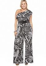 This one is actually in my closet!! Can't wait to wear it. ND® New Directions Plus Size One Shoulder Belted Jumpsuit