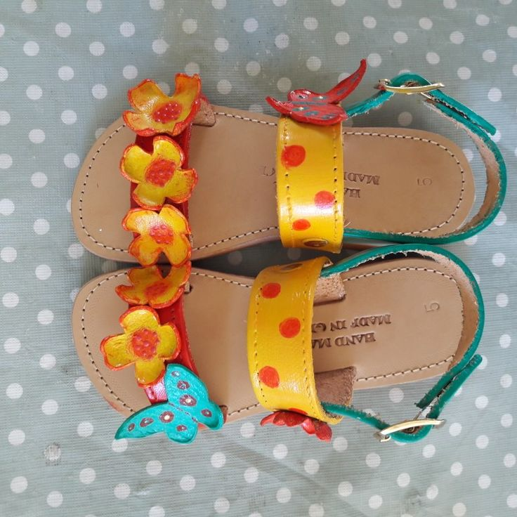 Handmade leather sandals for kids  by Paint My Day by Niki!