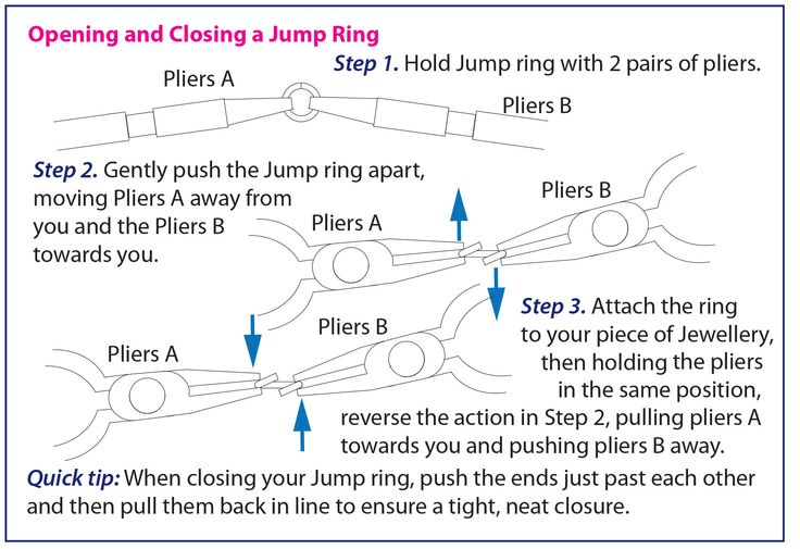 Opening a Jump ring - Instructions http://www.totallybeads.co.uk/index.php/lets-make-it/14-how-to/basic-techniques/23-beading-basics-page