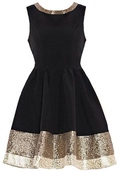 Metallic Hem Dress: Features a classic sleeveless design and demure round neckline, alluring metallic trim circling the neck and wrapping around the entire hem, beautiful exposed rear zip closure, and a gorgeous A-line skirt to finish.