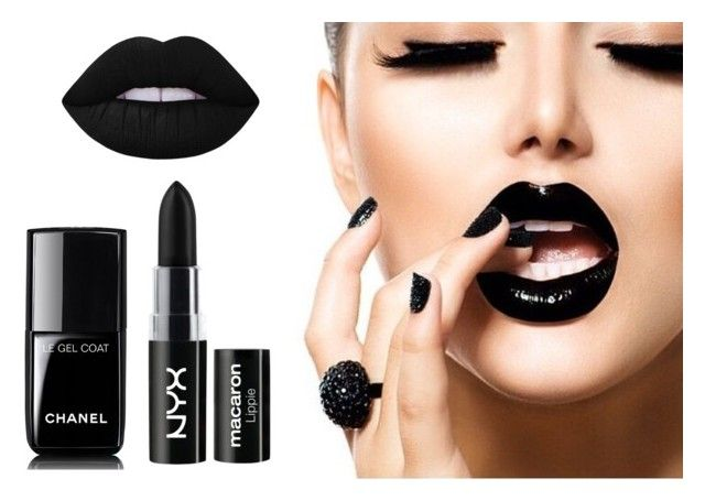 """Helloblack!"" by archita-dewi on Polyvore featuring Chanel, NYX and Lime Crime"