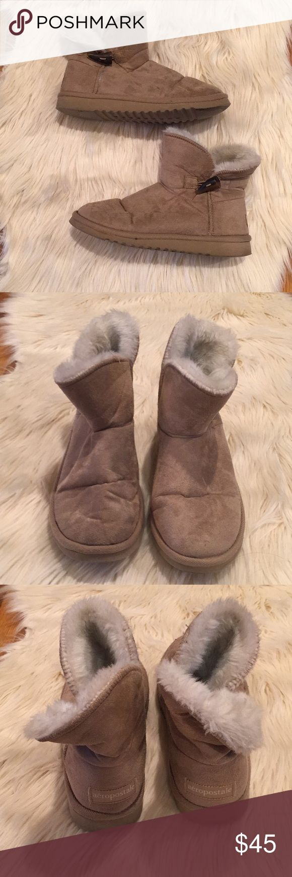 ❗️FINAL PRICE❗️Aeropostale- Brown Fur Boots Gently Used, kept in good condition minor signs of wear on bottom of soles from normal wear. Ankle Fur Brown Boots. Size 8 side brown Buckle. Very comfy & have much life still left in them! Aeropostale Shoes Ankle Boots & Booties
