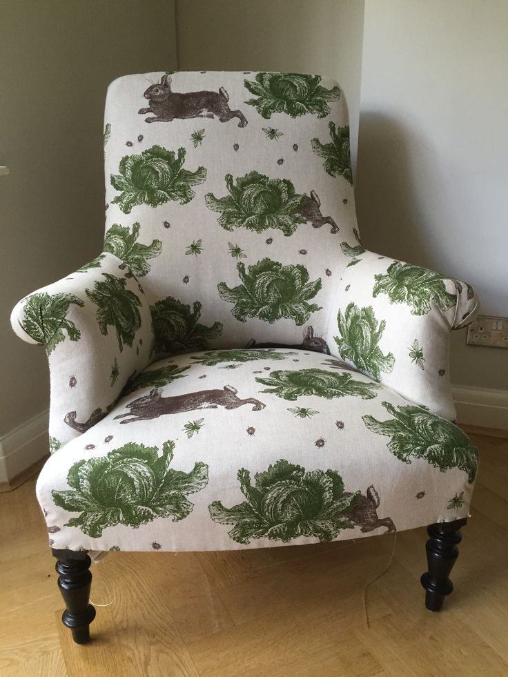 Traditional French armchair in Thornback and Peel's Rabbit and Cabbages
