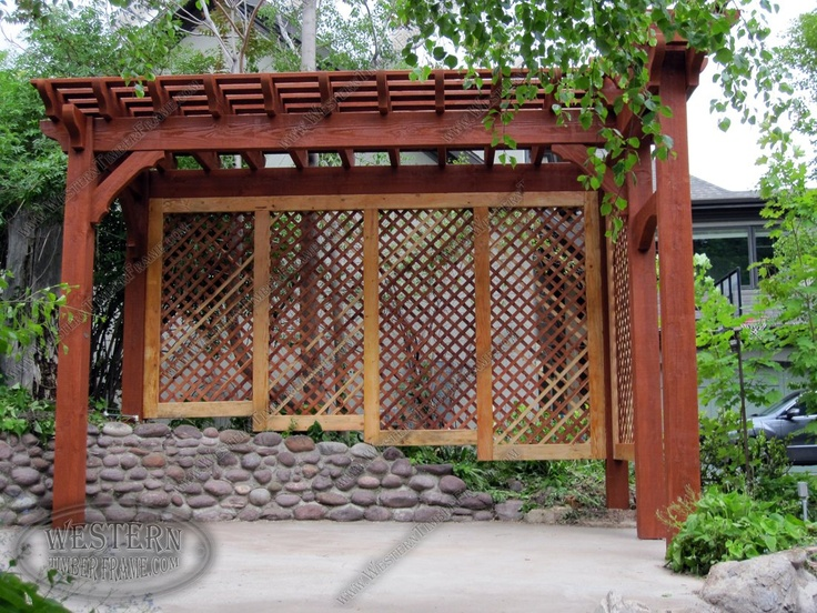 Free Standing Pergola With Rich Sequoia Stain And