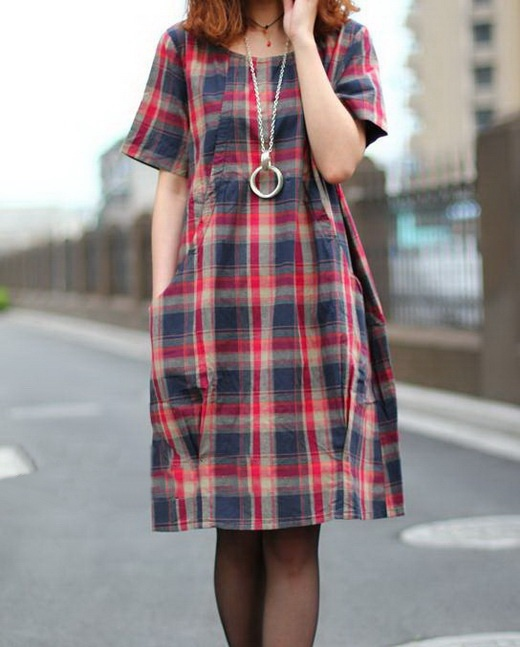 Red Plaids Cotton Dress