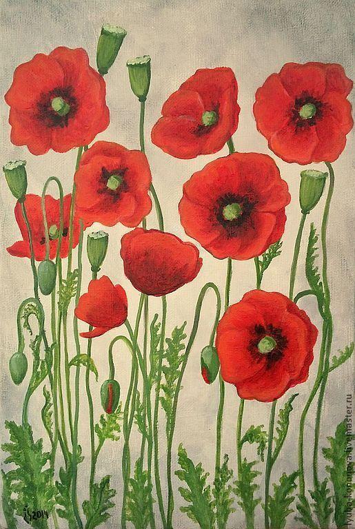 Купить Маки - картины с цветами, мак, маки, цветочное поле, луг, лето, картины на заказ