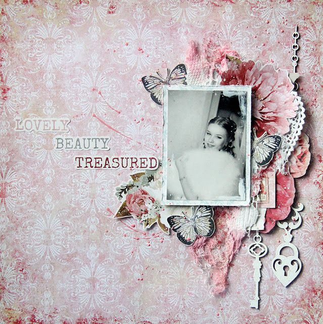 Scraps of Elegance scrapbook kits: Daria Makarova created this stunning pink 'girl' layout with our Jan Adore Kit. Subscribe to our kits and receive a new box of mixed media scrapbooking fun delivered to you each month. www.scrapsofdarkness.com