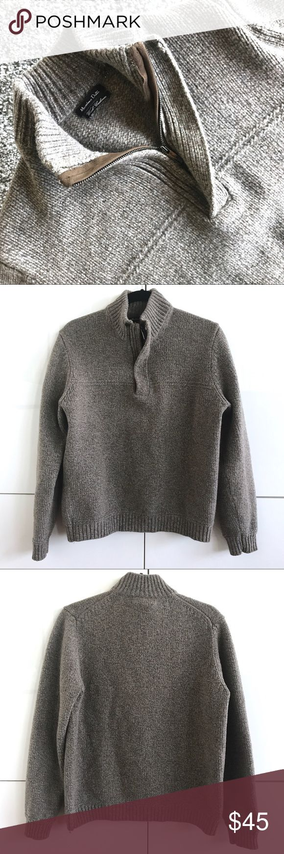 Like New Massimo Dutti Men's Half Zip Chunky Knit Like New Massimo Dutti Men's Half Zip Chunky Knit.  Tag is marked as large, but this is more of a men's medium (thus, I am listing as such).  Great gray, brown & blue thread make for a rich presentation.  90% wool; 10% cashmere.  Although it is a men's sweater, this would make for an amazing oversized knit with leggings on a petite woman! Massimo Dutti Sweaters
