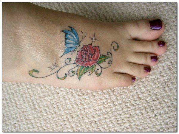 6+ Rose And Butterfly Foot Tattoos