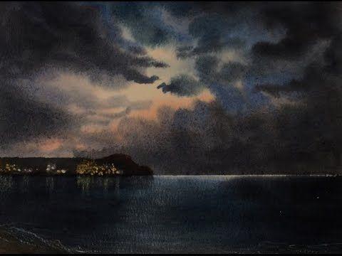 Ночное Небо.Легко! Акварель. Night Sky in watercolour. Easy! - YouTube