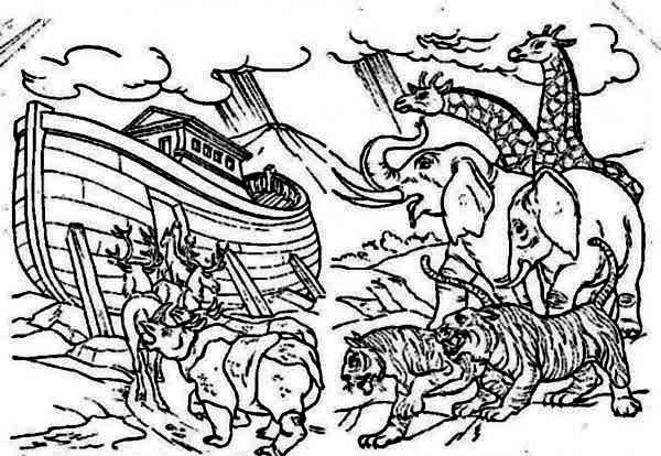 Noahs Ark The Animals Entering Noahs Ark Before The Great Flood Coloring Page
