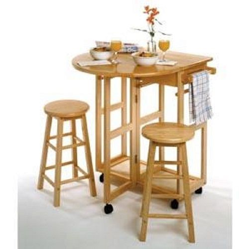 Breakfast Nook Table Set Round Dining Stools Dinette Bar Height Drop-Leaf 3-Pcs #BreakfastNookTableSet #Modern
