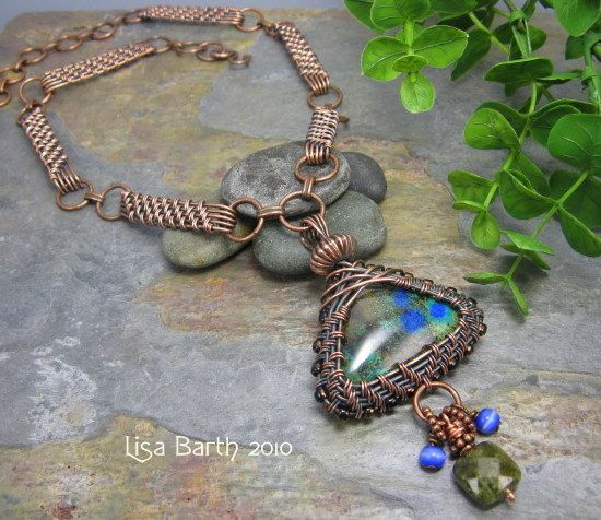 Woven Bezel Pendant with Woven Chain by Lisa Barth