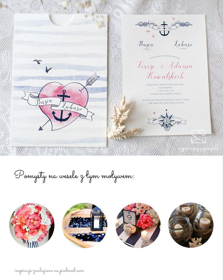 Motyw żeglarski - papeteria ślubna zaproszenia ślubne // Nautical wedding stationery theme, sea sailing wedding invitations, color palette navy blue pink, inspirations  http://najpiekniejsze-zaproszenia.pl/motyw-zeglarski/