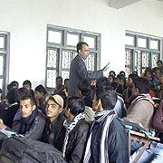 Interacting with students of R R Campus by the founder director of JKK Foundation during Youth Empowerment Program.