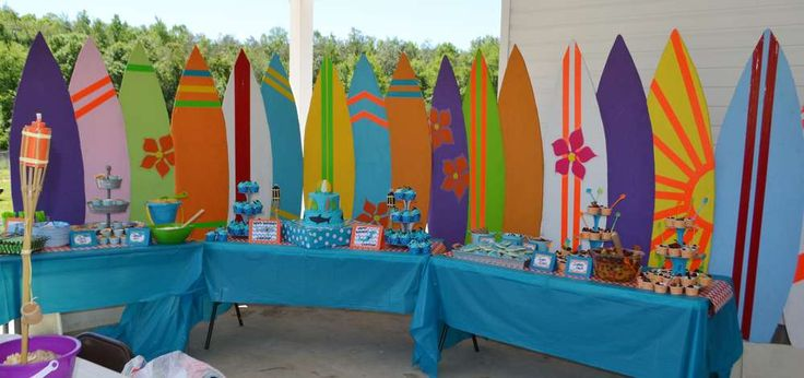 Surfin' Shark Party with Surf Board Back Drop ~ For more pics of this party visit http://catchmyparty.com/photos/2070066