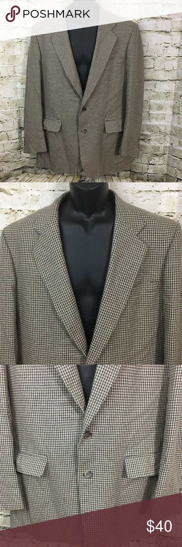 Jos. A. Bank Green/Tan Houndstooth Jacket Size 42L This is