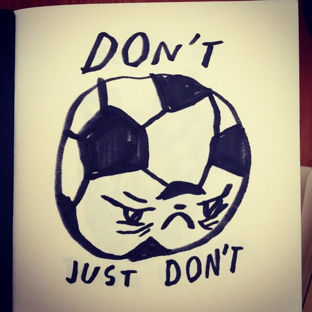 Kickin' it, on Mondays. #tinyvoodoo #sketch #sketchbook #comics #drawmore #comic #draweveryday #draw #drawing #iliketodraw #illustration #illustrator #doodle #doodling #sarjakuva #football