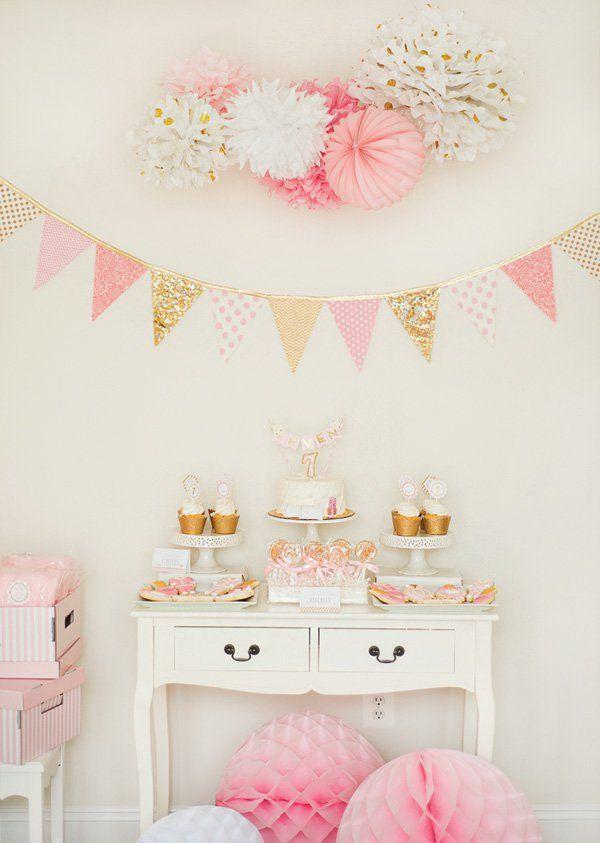 decoración mesa dulce rosa y dorado