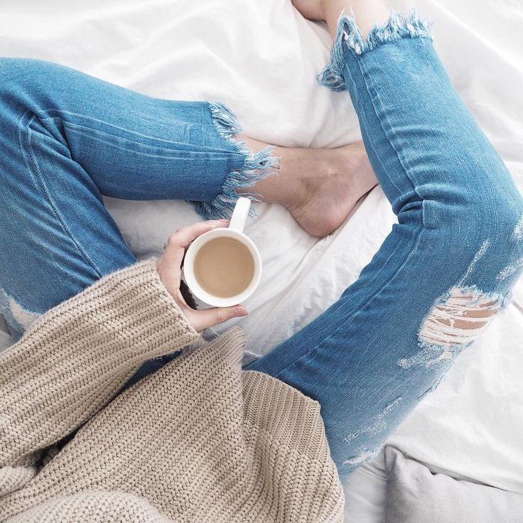 fray hem jeans, knitwear, cosy bed shot, fwis