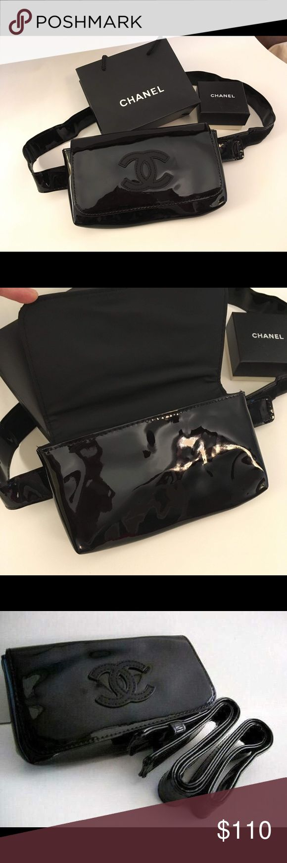 ✨Authentic Chanel VIP Gift Fanny Pack Bag Chanel VIP gift waist belt bag.  An exclusive gift made specifically for VIP Chanel clientele (not for sale in stores). No box, comes sealed in original plastic pouch. - Easily converts to a clutch.  - Made of patent leather waterproof, high gloss and flexible.  - Waterproof inner liner.  - Magnetic clasp.  Size: 19(L) x 9.5(H) x 3.5(D) cm  Strap length: 105cm  NO DUST BAG OR HOLOGRAM AS THIS IS A VIP GIFT ITEM. CHANEL Bags