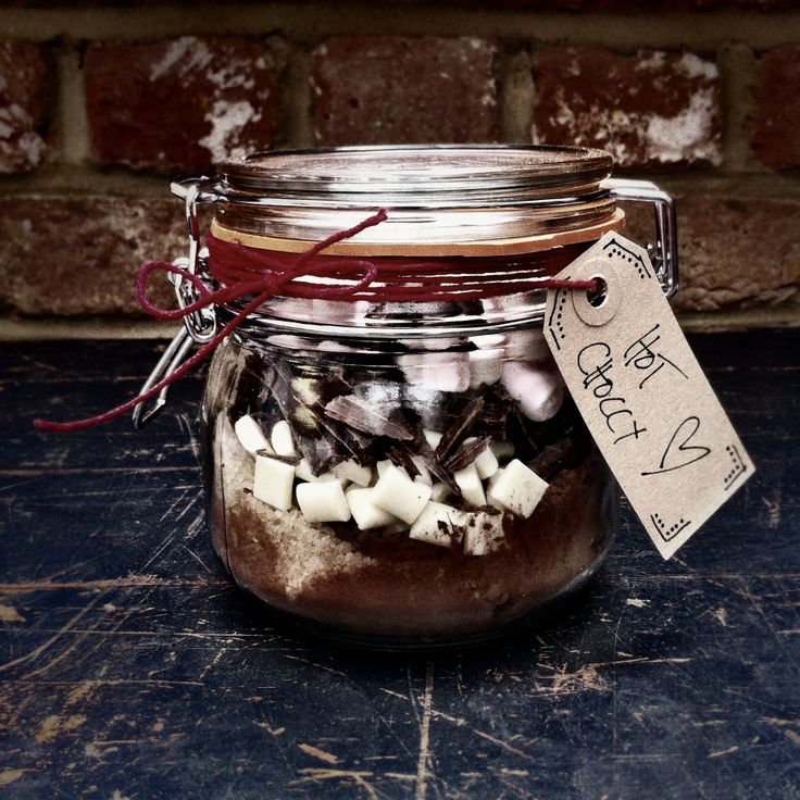 For a thrifty but charming present, fill some kilner jars with your own hot chocolate or cookie mixes. Just label them or wrap them up and give them to friends and family.