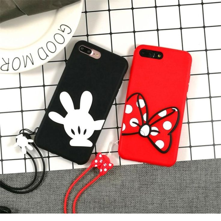Korea Cartoon Minnie Mickey Couple Phone Case For iPhone Xs X 8 7 6s plus 5s Lovely Rubber Soft Silicone Back Cover With Lanyard