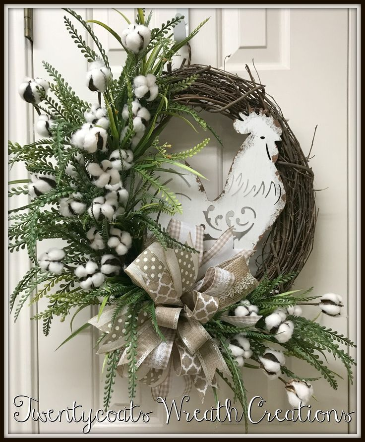 White Rooster cotton boll greenery grapevine Farmhouse wreath by Twentycoats Wreath Creations (2017)