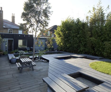 Garden with hidden sandpit and pool