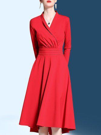 432b1f168272 Elegant A-Line V Neck Swing Party Cotton-Blend Midi Dress | Women's ...