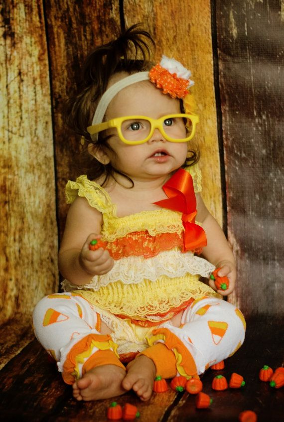 3 Pc. Candy Corn Halloween Petti RomperGirls by BetterThanBows, $39.95