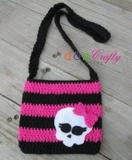 crochet monster high skull applique | Monster high bag