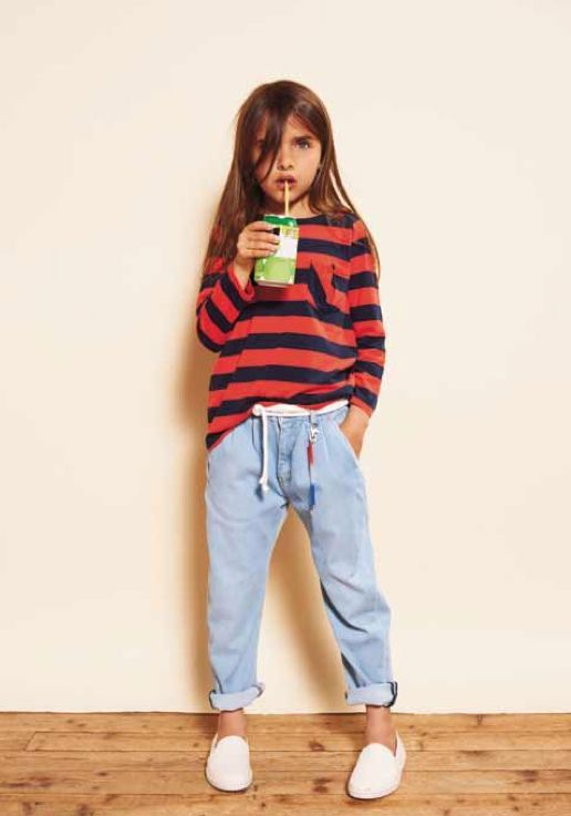 Totally unisex: The look is oh so simple but the jeans have just the right amount of bagginess at Finger in the Nose kids fashion for spring 2013