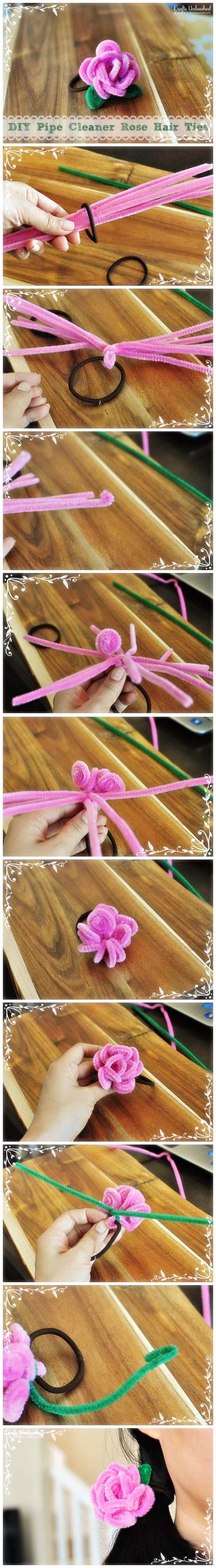 Pipe Cleaner Rose Hair Ties