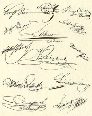 Az aradi vértanúk aláírásai (kép):