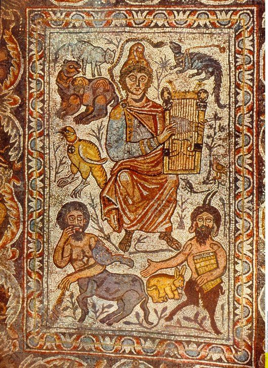 Roman Empire Late Antiquity Singing of Orpheus with lyre, surrounded by beasts; bottom: a satyr and a centaur. Floor mosaic from the Roman Late Antiquity; oratory of a tomb in Jerusalem – – 01.01.1003