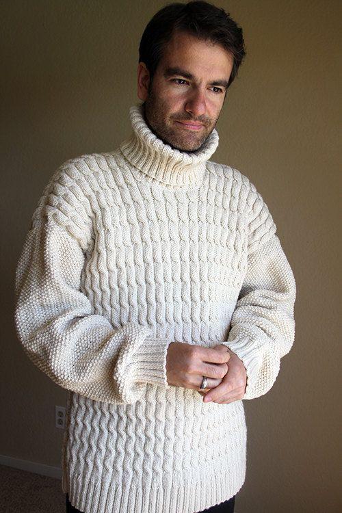 Beige winter weater. Mannen trui. Kabel trui. Hand gebreide trui. De gift van Kerstmis. Aran trui. Pullover. Vissers trui.