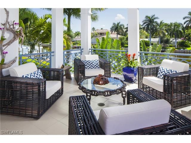 Great 1744 Gulf Shore Blvd N, Naples, FL | Coastal Beach Balcony With Dark Rattan
